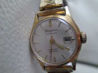 Alte Armbanduhr Von Dugena Calendar,  Vergoldet,  Zugband 1950er? Bild