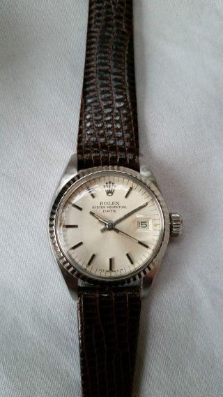 Rolex Lady Date Weißgoldlünette/ Edelstahl,  Ca 1980er Jahre,  Sekundenstopp,  Box Bild
