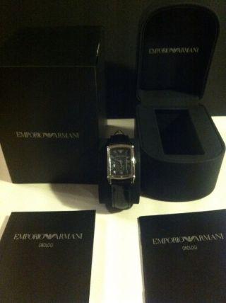 Emporio Armani Ar0240 Armbanduhr Damenuhr Lederarmband Krokoprägung Neuwertig Bild
