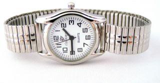 Neue Classique Quarz Damenuhr Silber/weiß Zugband Armbanduhr - Ersatzbatterie Bild