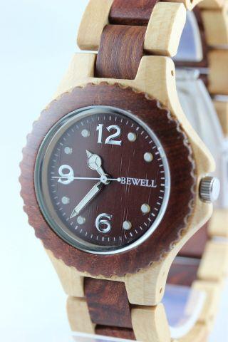 Bewell Holzuhr,  Damenuhr,  Herrenuhr,  Ahorn - Zürgelbaum,  Armbanduhr,  Geschenk Bild