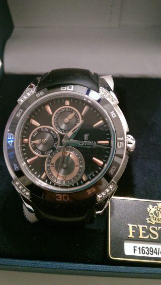 Festina Uhr Armbanduhr Damen Stasssteine Neuwertig Bild