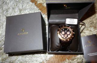 Aigner Firenze Chronograph Kroko Leder Rose Gold Top Wneu Np 699 Lederarmband Bild
