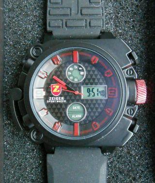 Xxl Herrenuhr - Sports Uhr - Chronograph - Licht - Datum - Alarm - 3atm - Analog/digital - Bild
