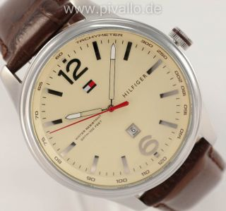 Tommy Hilfiger Herrenuhr / Herren Uhr Leder Datum Braun Creme 1710315 Bild