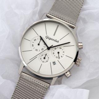 Gigandet Minimalism Herrenuhr Chronograph Datum Edelstahl Schwarz Silber Bild