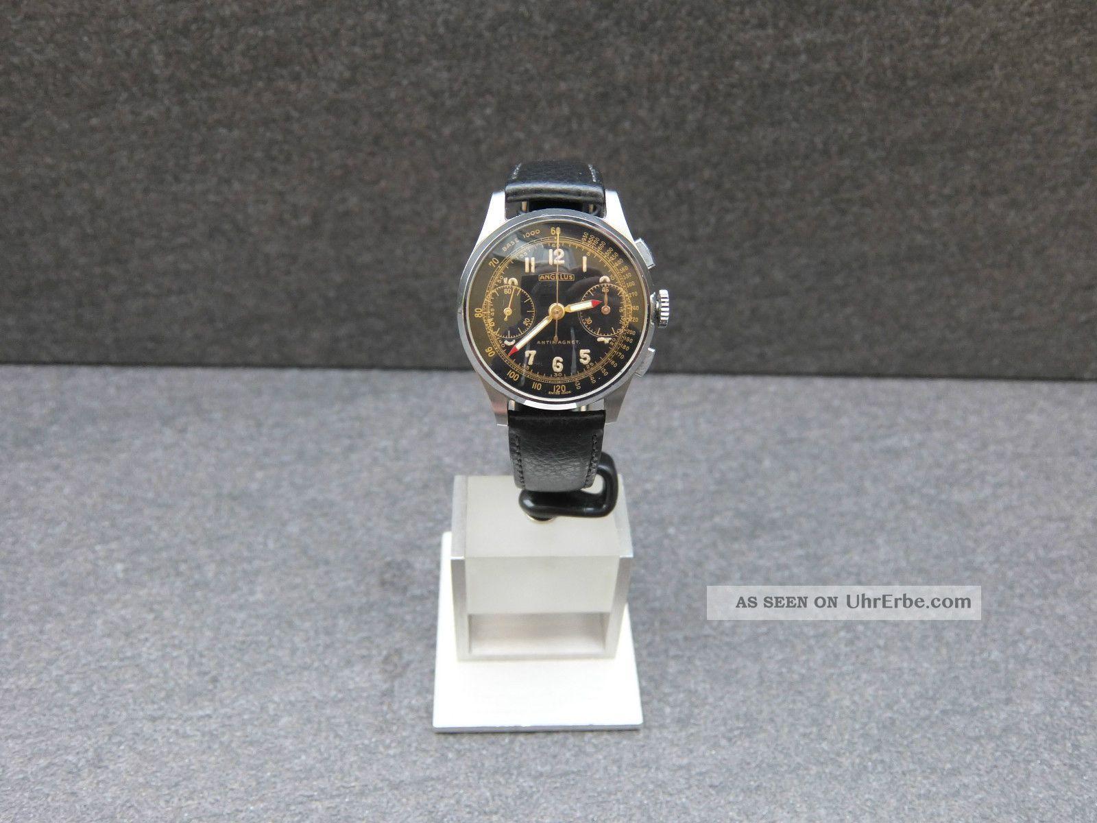 Angelus Chronograph Schwarzes Zifferblatt Kaliber Angelus 215 1940er Sammleruhr Armbanduhren Bild