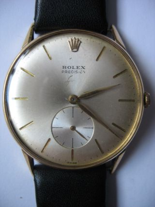 Rolex Precision Armbanduhr Handaufzug 18 Karat Gold,  Ca.  70 Jahre Alt Bild