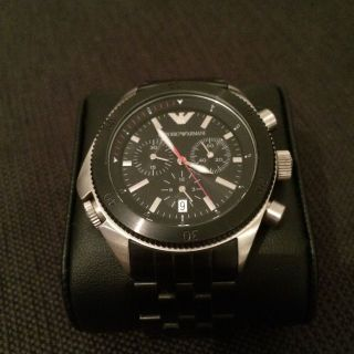 Emporio Armani Uhr Chronograph Herren Schwarz Stahl Armband Wie Bild