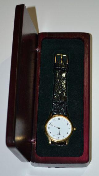 Lacher Herrenuhr Armbanduhr Jubiläum 50 Jahre Ig Metall Igm Lederarmband Gold Bild