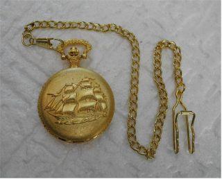 Schönetaschenuhr,  Kette Segelschiff Schifffahrt Maritim Goldfarben Weihnachten Bild