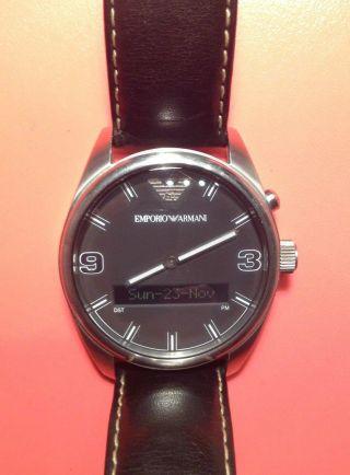 Emporio Armani Herren - Armbanduhr Global Time Weltzeit World Timer Leder,  Ar 0511 Bild