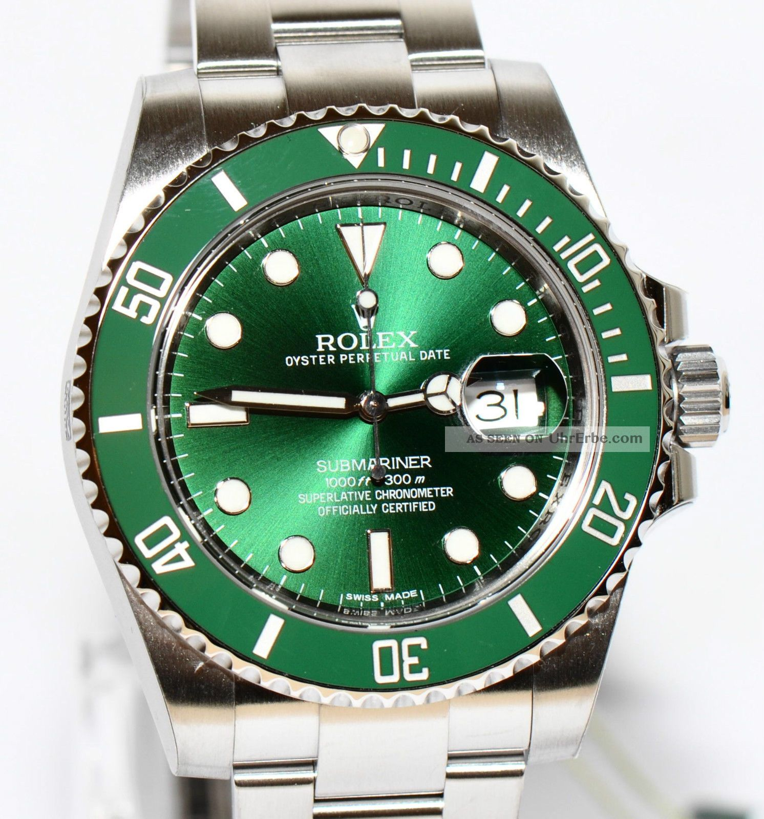 rolex submariner keramik green 2014 stahl uhr ref. Black Bedroom Furniture Sets. Home Design Ideas