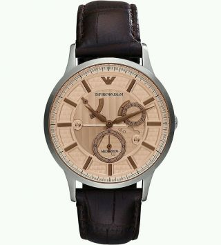 Armani Herren 41mm Chronograph Automatik Braun Leder Armband Uhr Ar4660 Bild