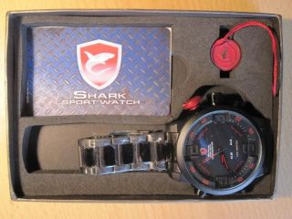 Shark Analoge Und Digitale Led Alarm - Quarz - Armbanduhr. Bild