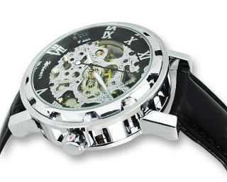☛neu ✔ Stilvolle Herren Armbanduhr Lederarmband Skelett Winner Weihnachten Bild