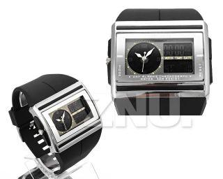 Schwarz Herren Uhr Quarzuhr Sportuhr Armbanduhr Watch Uhren Licht 3 - Atm Bild