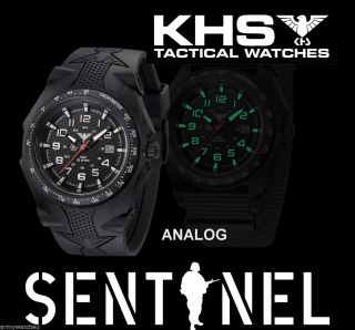 Herrenuhr Analog,  Khs Sentinel A Black,  Silikonband,  Datum,  Licht,  C1 - Leuchtfarbe Bild