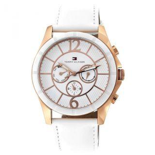 Tommy Hilfiger Watch 1781160 - Uhr - Damen - 43 Mm - Lederarmband - Gold - Weiß Bild