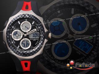 Fafada Ohsen Digital Analog Sport Uhr Armbanduhr Herrenuhr Uhren Alarm Gummi Bild