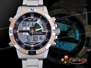 Fafada Weide Led Herrenuhren Armbanduhr Quarz Analog Uhr Sport Uhren Silber Bild