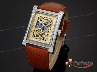 Goer Mechanisch Handaufzug Armbanduhr Herrenuhr Skelett Uhr Leder Bild
