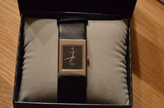 Längengrad Armbanduhr Damen Silber Eckig Lederarmband Schwarz Bild