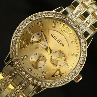 Armbanduhr Uhr Edelstahl Damen Herren Watch Wristwatch Strass Crystal Gold Bild