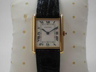 Cartier Tank Gold 750 / 18k Massiv Damen & Herren Armbanduhr Saphir Bild
