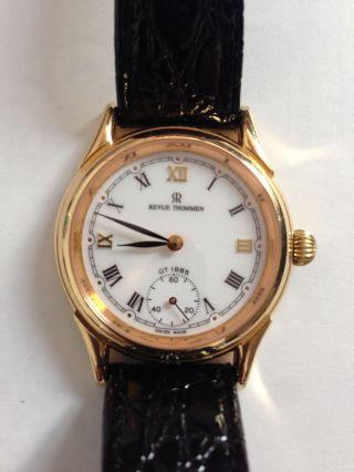 Revue Thommen Uhr Herrenuhr Handaufzug Gold Mit Glasboden Bild