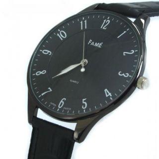 Fame Slim Watch Flache Armbanduhr Leder Herrenuhr Analog Schwarz Bild