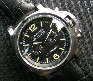 Marina Militare Chronograph Cal.  Citizen Os21 Herrenuhr Parnis Schwarz B - Uhr Bild