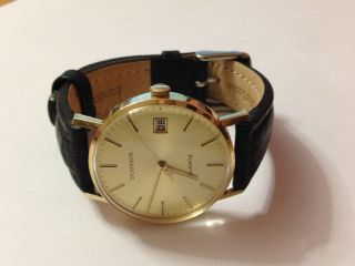 Vintage Uhr / Herrenarmbanduhr Dugena 14k / 585 Gold Bild