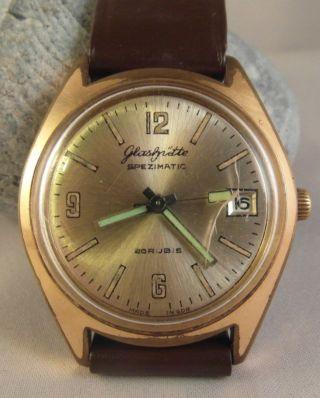 Uhr Ddr Gub Glashütte Spezimatic Datum 26 Rubis Um 1960 - 70 Goldplaque Bild