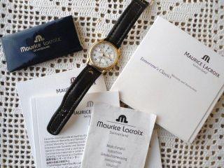 Herren Armbanduhr Maurice Lacroix Vergoldet Chronograph Swiss Made Bild