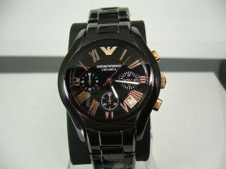 Emporio Armani Ar1411 Mid Size Ceramica Chronograph Mit Box & Papiere Bild