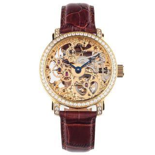 Laurine Kairo Gold Herren Skelett Armbanduhr Mech Handaufzug Kristalle Leder Bild