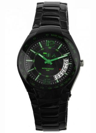 Fila Uhr,  Schwarz/grüne Herrenuhr Mit Bogendatum,  Armbanduhr,  5 Atm,  Fa0846 Bild