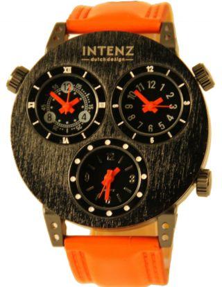 Intenz Three Timer Armbanduhr Leder Orange Herrenuhr Mit Drei Uhrwerken Bild