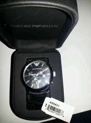 Emporio Armani Uhr Ar0431 Herren Lederarmbanduhr,  Chronograph,  Neuwertig Bild