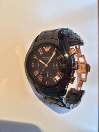 Emporio Armani Ar1410 Schwarz Und Rosegold Herren Uhr Chronograph Keramik Bild