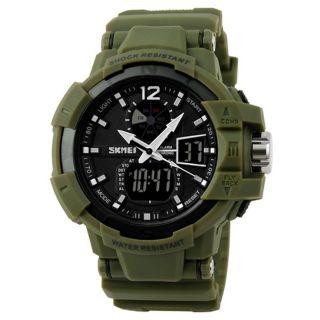 Herrenuhr Sportuhr Multifunktionale Dual Time Zones Armbanduhr Grün Digital Bild
