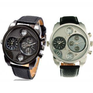 Ol07 Herrenuhr 2 Zeitzonen Militär Leder Sportuhr Armbanduhr Men Watch Bild