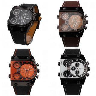 Herrenuhr Multi Time - Zone 3 Dials Militär Leder Watch Sportuhr Armbanduhr Ol04 Bild