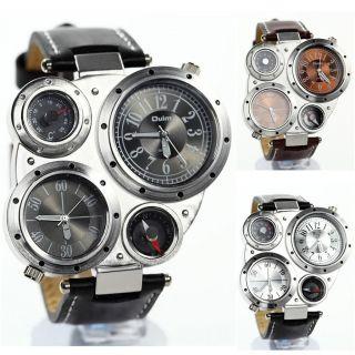 Ol02 Herrenuhr Multi Time - Zone 2 Dials Militär Leder Watch Sportuhr Armbanduhr Bild