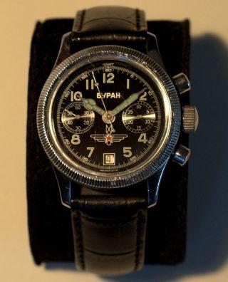 Russischer Fliegeruhr Chronograph Poljot.  Buran Mechanisch N803154 Poliert Bild