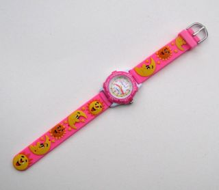 Kinderuhr Armbanduhr Quartz Lachende Sonnen Und Monde Rosa Kinderarmbanduhr Bild