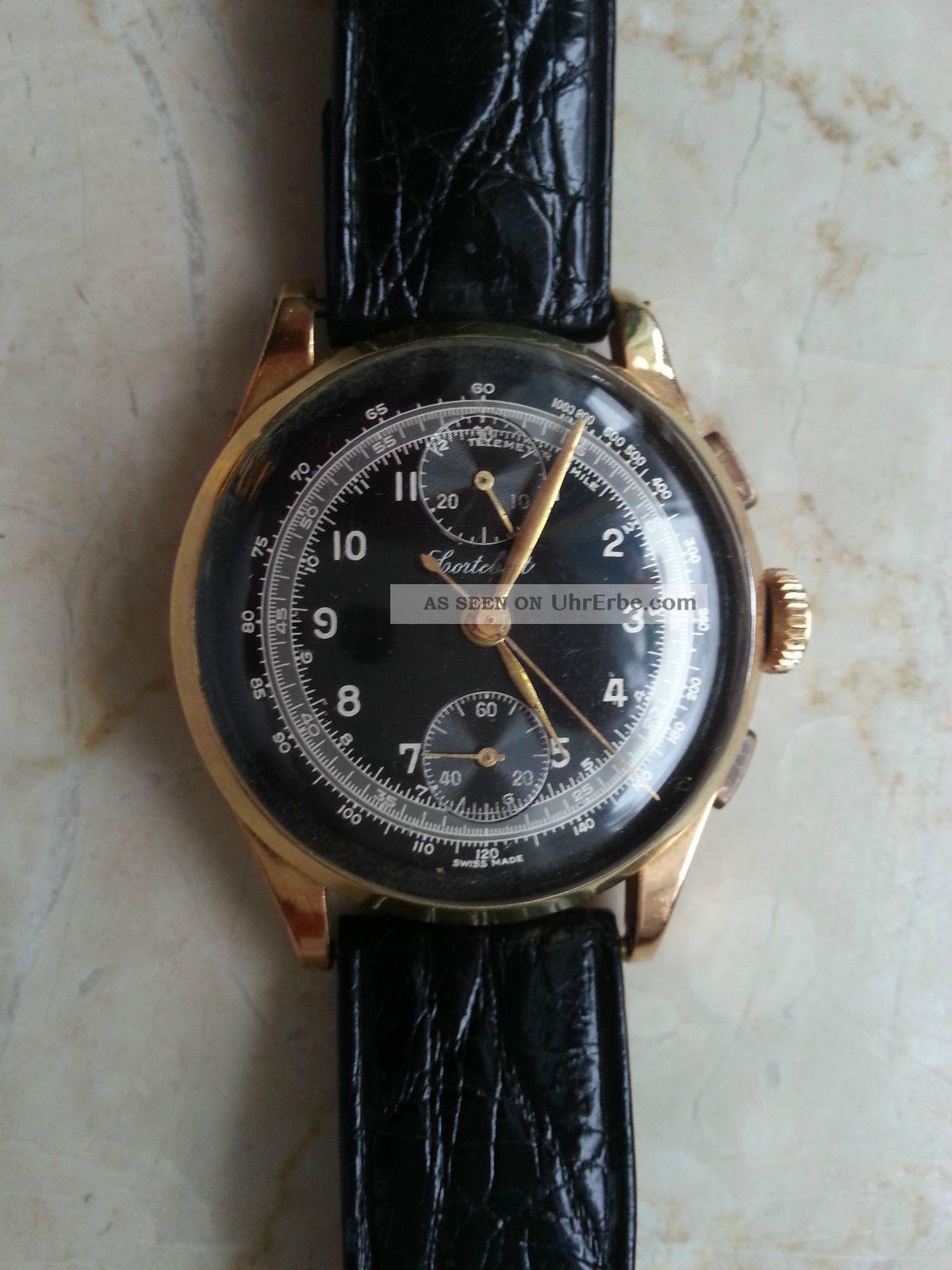 Uhr Gold Vergoldet Stempel 223 & 158 Swiss Chronograph Cortébert Armbanduhren Bild