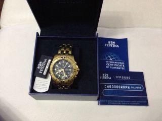 Festina Sport Chrono Gold Blatt Schwarz Bike Armbanduhr Für Herren F16119/3 Bild