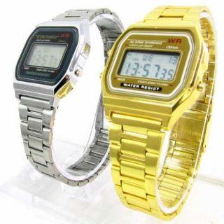 Digitale Retro Armbanduhr Uhr Alarm Stoppuhr Edelstahl Gold /silber Bild